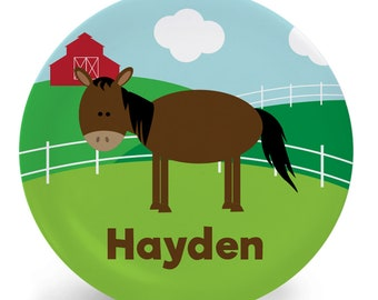 Personalized Horse Plate - Child's Plate - Child's Bowl - Farm Melamine Plate Bowl Placemat Mug - Tableware Set for Kids