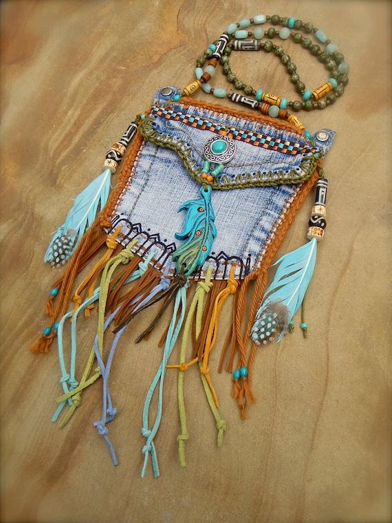Items Similar To Custom Make Denim Medicine Bag Tribal