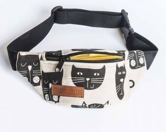 cats fanny  pack, bum bag, hip pouch, handmade, slow fashion, zala szyje