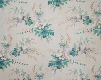 French antique 19C floral cotton fabric