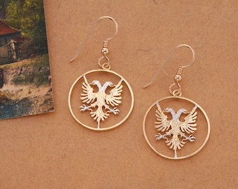 Albanian Eagle Earrings, Hand Cut Albanian Coin earrings, ( # 940E )