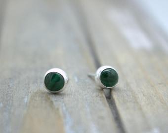 Malachite Stud Earrings - Sterling Silver Earrings - Malachite jewelry - Post Earrings - Jewelry Sale - Gift for her