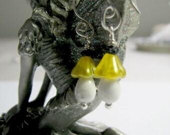 Yellow Flower Mushroom Drop Dangle  Earrings