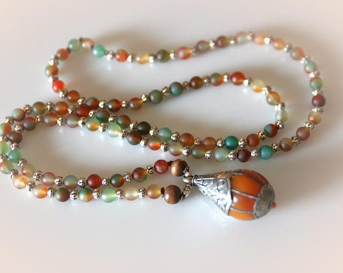 Harvest Agate Gemstone Necklace with Tibetan Pendant. Long Boho Beaded Necklace.