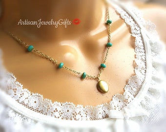 Bohemian Locket Necklace Tiny Gold Locket Oval Gold Locket Turquoise Czech Glass Picasso Beads Necklace Boho Necklace Gift For Her