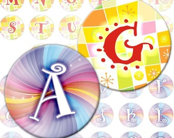 Pretty Alphabet Letters 2-in-1 digital collage sheet  1 inch circles Monogram (266) Buy 3 - get 1 bonus