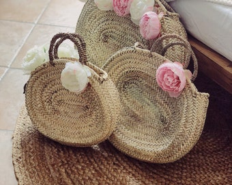 Oval basket with peonies
