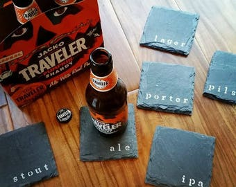 6 Craft Beer Slate Coasters - Mancave, Fathers Day, Brewing, brewer, Husband, Father, boyfriend, Valentine's Day