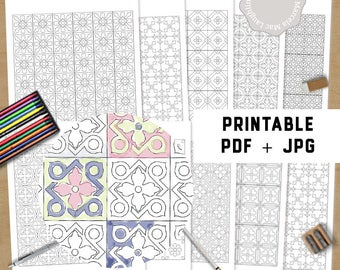 Printable Coloring Pages Flower Mosaics- Coloring Pages for Adults Floral Tile Patterns Instant Download PDF+ JPG Coloring Book Decor Pages