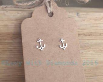 Anchor stud earrings sterling silver coastal jewellery