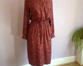 Chic Shirt Dress By Bianco, Red and Green Abstract-Geometric Print.