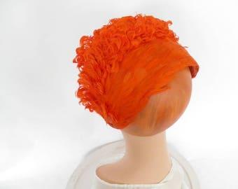 Orange feather hat, vintage 1950s halfhat, Jamica