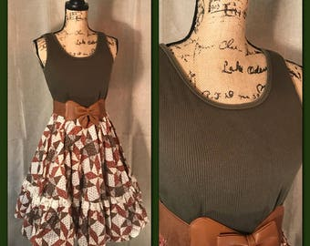 HOEDOWN HOTTIE// Womens VINTAGE Skirt Full Circle Patchwork Rockabilly Square Dance Fall Retro Midi Modest