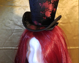 Black and red floral Mini top Hat