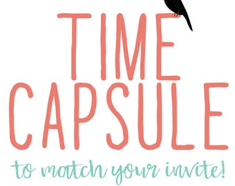 Time capsule cards first birthday wedding shower reception couples baby match any invitation for of my invitations  Katiedid designs cards