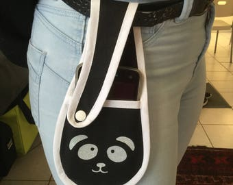 """phone wallet to be carried in his belt """"panda"""" version"""