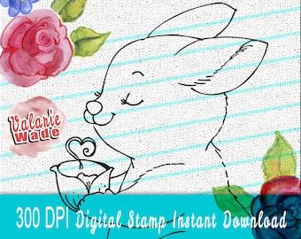 Cute Bunny, Rabbit, Tea, Easter Digital Stamp Set png and jpg files Printable Download