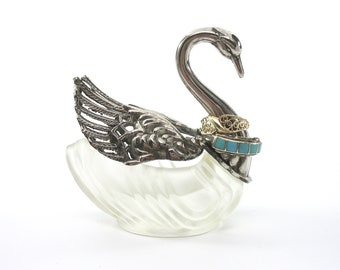 Swan Ring Holder, Swan Vanity Jar, Silver Plated Swan, Moveable Wings, Frosted Glass, 1970s, Jewelry Holder, Box, Retro Gift Idea, Excellent