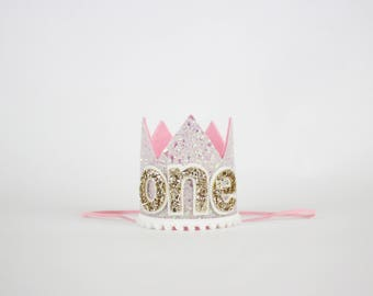 First Birthday Crown   1st Birthday Girl Outfit for Cake Smash   Baby Girl First Birthday Outfit   1st Birthday Hat   Baby Pink Gold White