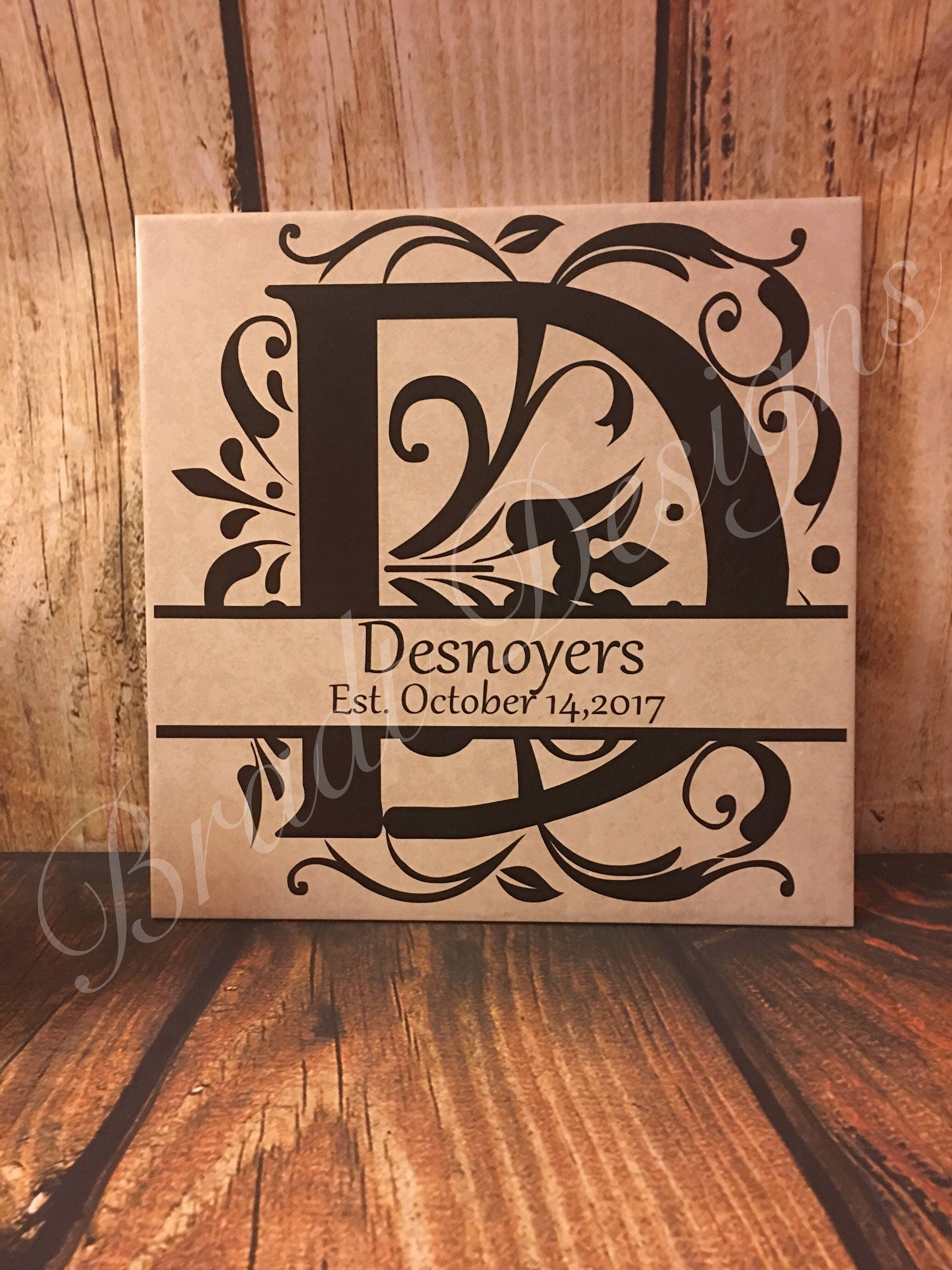 Customizable home decor ceramic tile monogrammed family name zoom dailygadgetfo Images