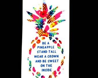 Pineapple Decal - Pineapple Sticker -  Window Decal - Laptop Sticker - Tumbler Decal - Water Bottle Decal - You Choose Size and Color