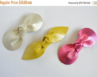 SUMMER VACATION FLASH Summer Vacation Bows: Belle Inspired Bow Set  // Leather Knotted Hair Bows  //   Yellow and Pink Bow Set  // Leafy Tre