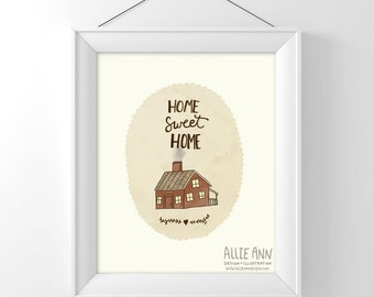 Home Sweet Home House, art print, illustration, typography