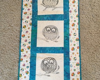 Wall hanging with owls sewn and owl fabric