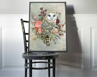Barn Owl Print, Owl Gift, Birds, Owls, Nature Lover Gift, Owl Nursery, Owl Gift for Her, Flowers, Bird Art Prints, Home Decor, Owl Nursery