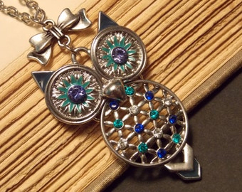 Blue and Silver Owl Necklace
