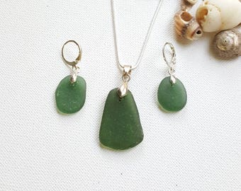Sea glass, Earring and Necklace set, Seaglass, Green Beach glass, Beach finds, Eco jewellery, Sea glass jewelry set