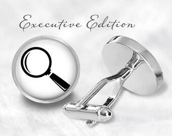 Magnifying Glass Cufflinks - Detective Cuff Links (Pair) Lifetime Guarantee (S1274)