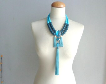 Turquoise necklace, tassel chunky necklace, modern tribal statement, blue necklace