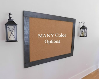 Extra Large FRAMED BULLETIN BOARD - Cork Board - Message Board - Industrial Decor - 36x48 - Shown in Graphite Gray - Choose From 30 Colors