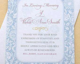 """Sympathy Thank You Cards with Blue Carnations - Personalized - FLAT Cards - 3-1/2"""" x 4-7/8"""""""
