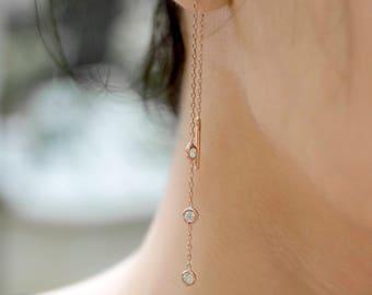 Threader Earrings | Chain Earrings | Drop Earrings | Minimalist Jewelry | Simple Earrings | Gold Earrings | Silver Earrings | Gift for Her
