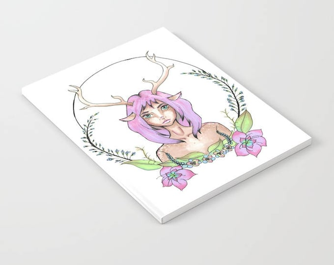 Notebook - Hand Drawn Art - Deer Girl - Blank Book - Lined - Unlined - Made to Order