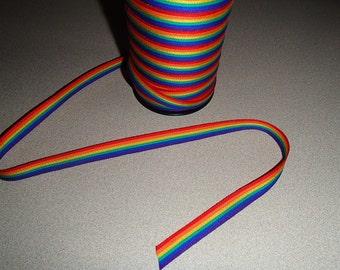 Swedish Cotton Fabric Ribbon Trim - 5 yard piece - Rainbow Pride