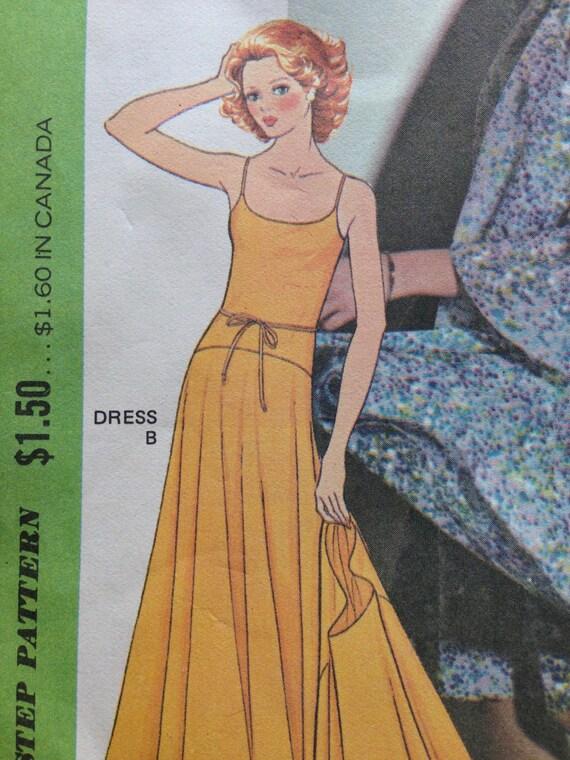 70s Vintage Halston Maxi Dress & Capelet pattern, McCalls 4281, Drop ...