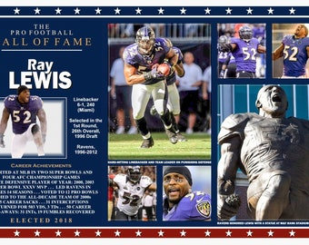 Ravens Great Linebacker Ray Lewis Hall of Fame Commemorative Poster