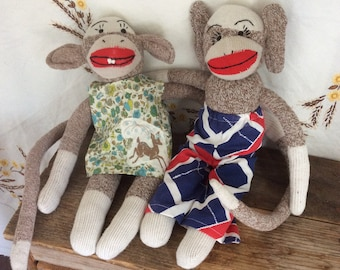 Sock Monkey handmade folk art vintage clothes doll sweetheart friends