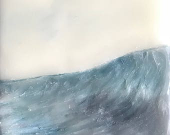 "swell - 4.5""x2.5"" - original encaustic painting peaceful, impressionist, landscape, wave, sea, ocean"