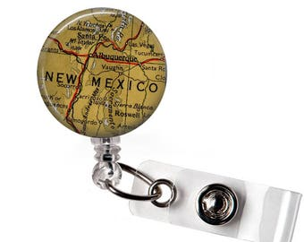 ID tag New Mexico, nurse, office, Retractable Badge, Medical ID Badge, Retractable id tag,  graduation gift, Medical ID reel, Card Holder