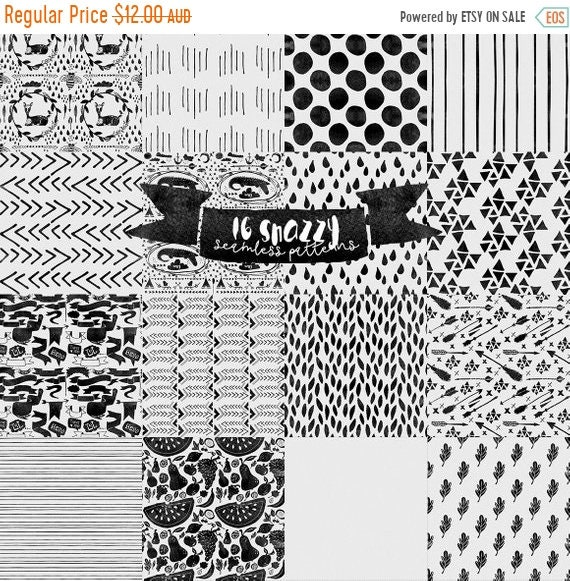 70% OFF Sale Digital paper Seamless Seamless Snazzy Patterns - PNG, Photoshop PAT and Watercolor Papers