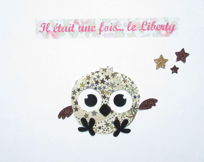 Applied fusible, bird, liberty, Adelajda Brown, glitter fabric, patch, iron, coat, child customisation, clothing, cushion