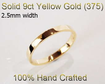9ct 375 Solid Yellow Gold Ring Wedding Engagement Friendship Friend Flat Band 2.5mm