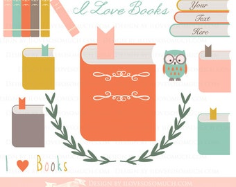 Book Clip Art / Book Club / I Love Books Clip Art - Instant Instant  Download - CA067
