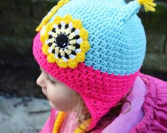 Handmade Crochet Owl hat, Girls hat, little Owl hat, Character Hat, Animal hat