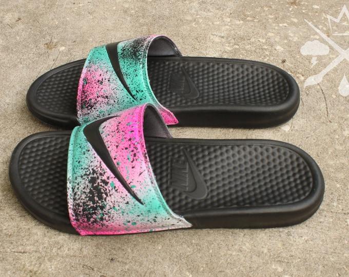 Nike Custom LeBron 8 Miami Nights Benassi Swoosh Slide Sandals Flip flops  Men's