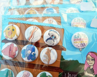 Pinback Buttons - 1 inch - Set of 10 - based on your favorite Live.Dream.Create. plushies